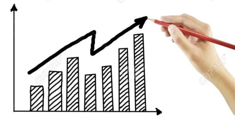 hand drawing a growth graph on white background
